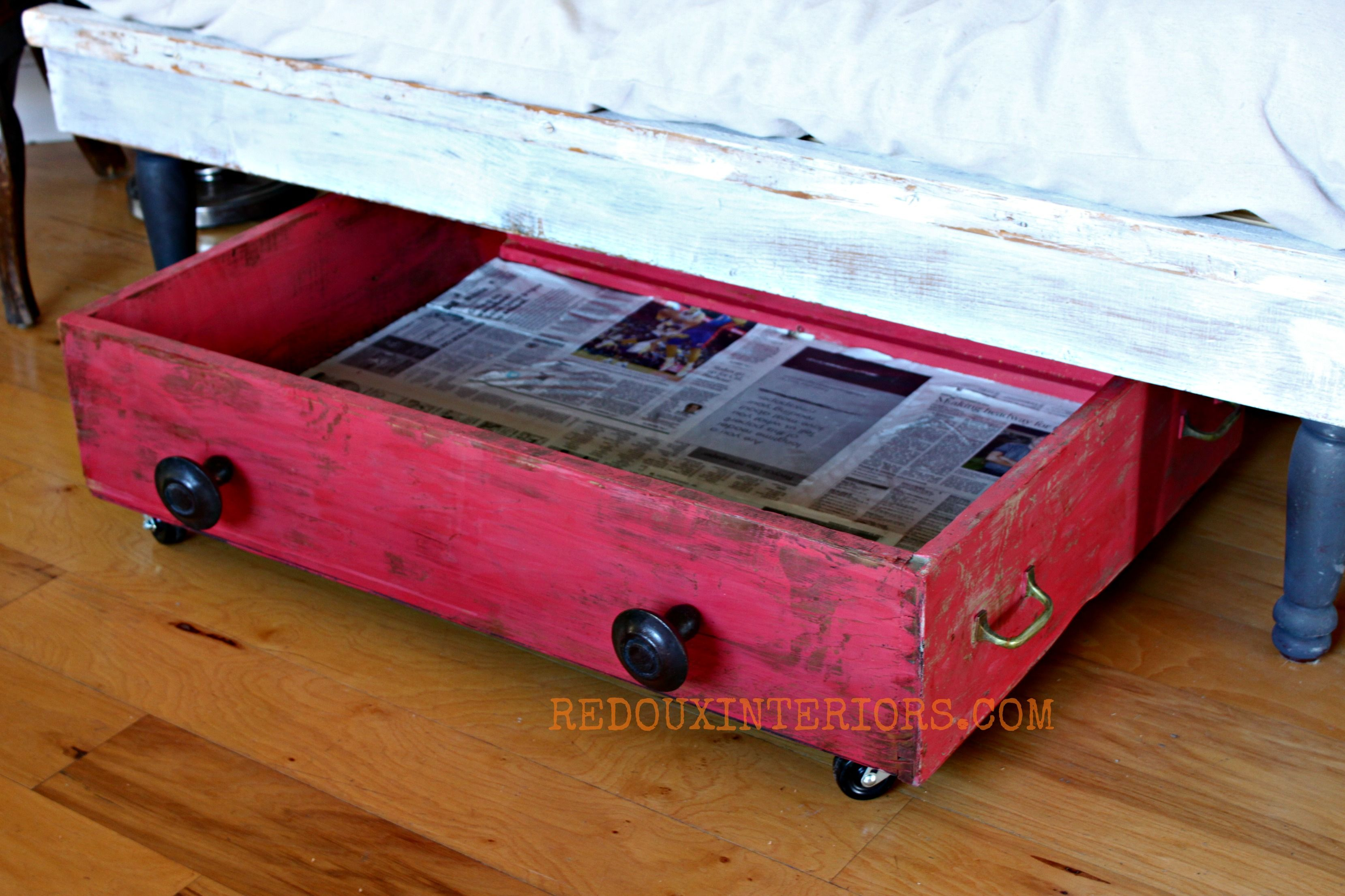 Under bench storage lined with newspaper redouxinteriors for the