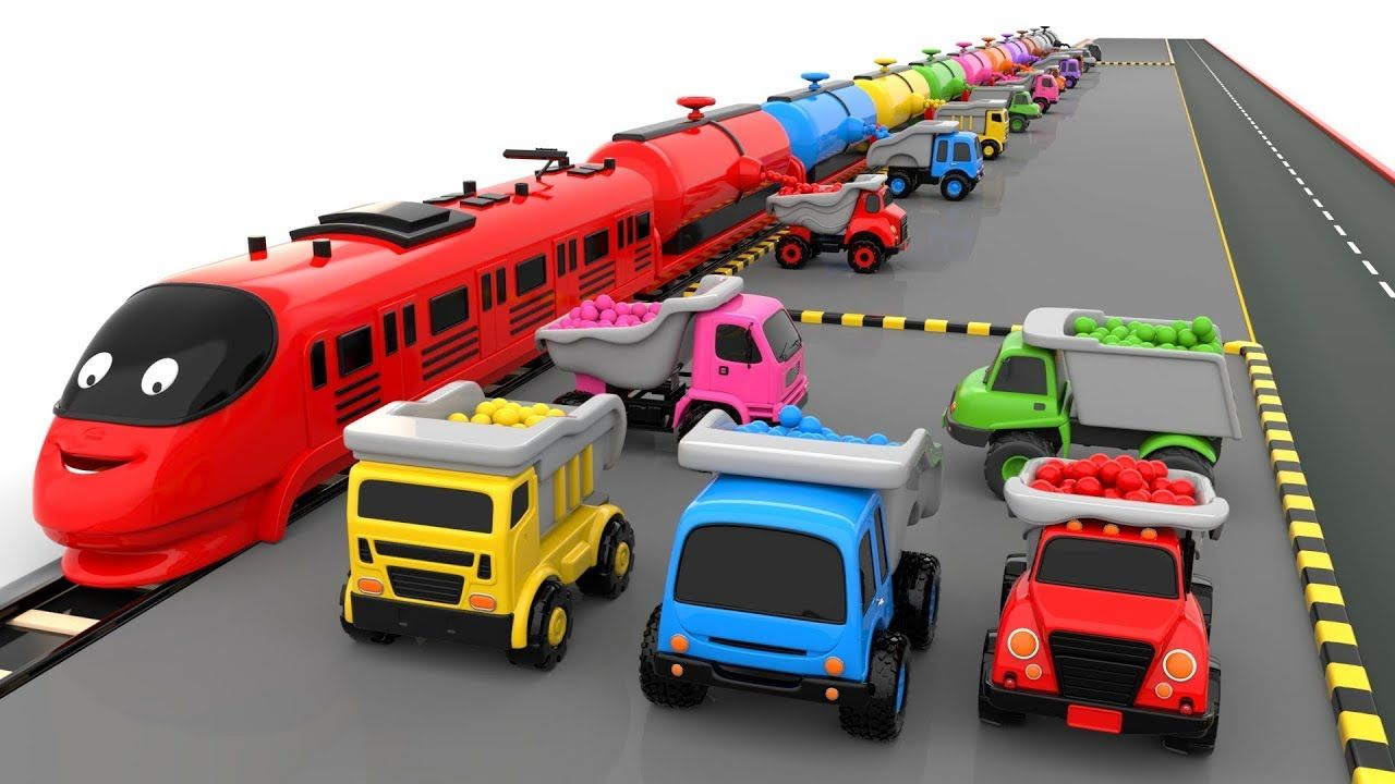 Colors For Children To Learn With Train Transporter Toy Dump Trucks Educational Videos Coloring For Kids Educational Videos Dump Trucks