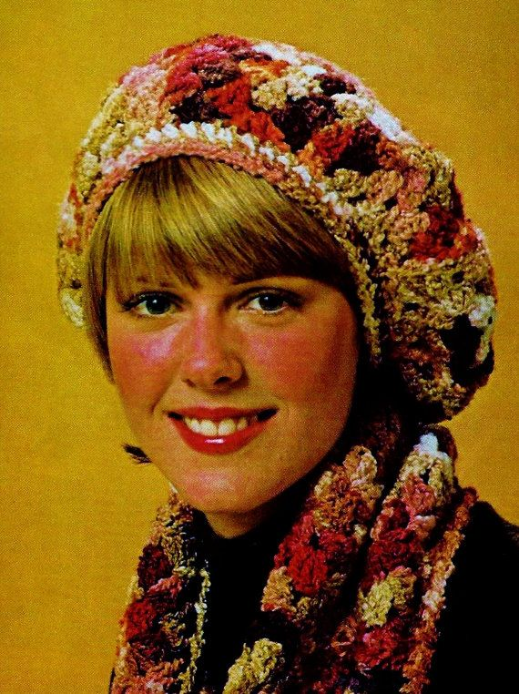 DIY Easy Granny Square Beret and Matching Scarf PDF Vintage Crochet Pattern