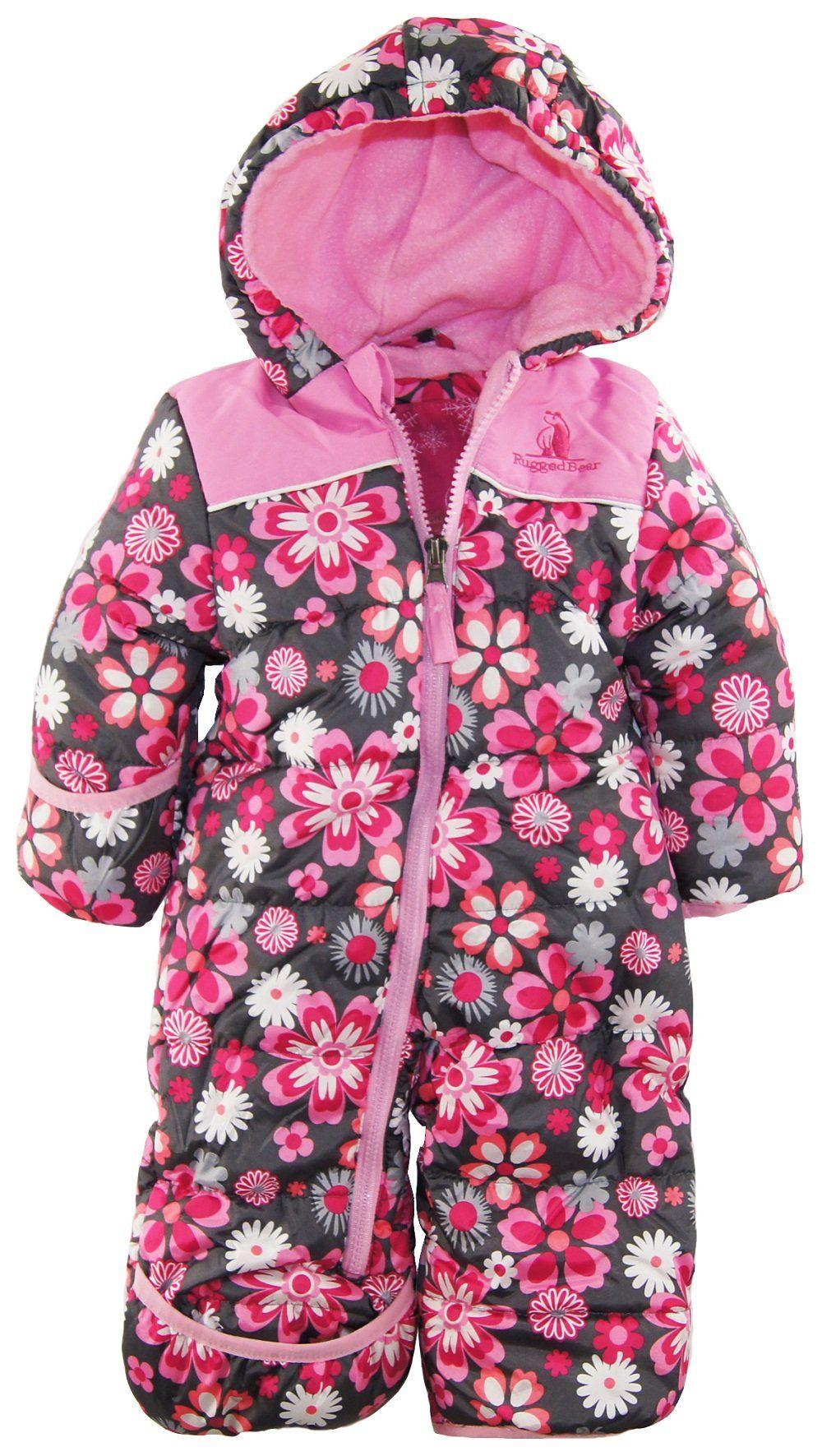 0347949f8936 Rugged Bear Baby Girls Newborn Floral One Piece Snowsuit Pram ...