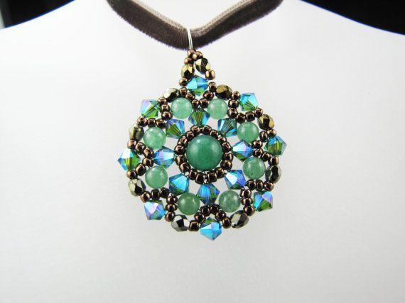 Emerald AB2X Swarovski Crystals and Green Aventurine Gemstones Medallion Woven Beaded Pendant Necklace