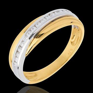 Wedding Ring Yellow Gold White Semi Paved