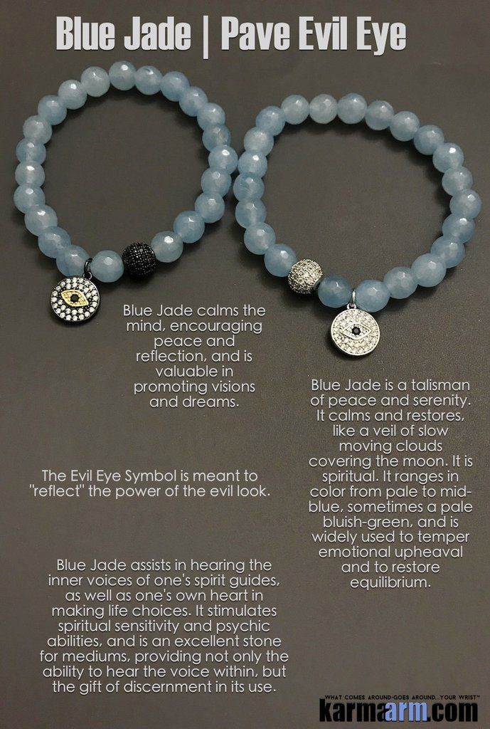 Mantra I Am Protected From Negativity And Harm 8mm Faceted Natural Blue Jade Gemstones 18k Plated Cz Diamond Pave Ball Your Choice