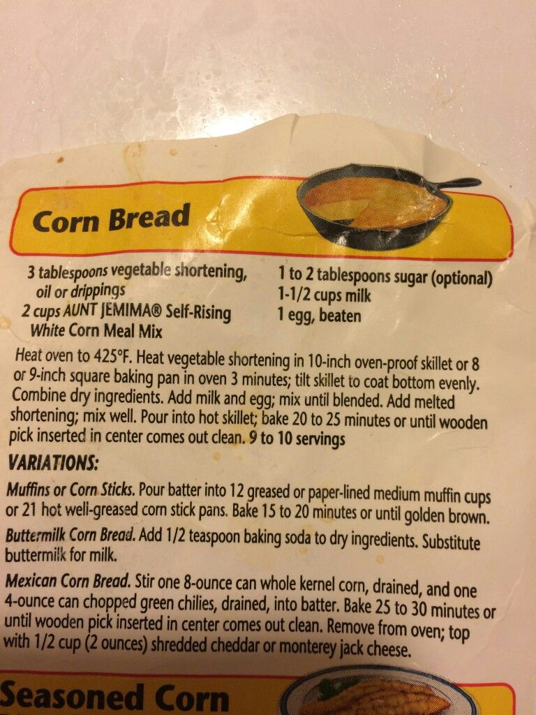 Aunt Jemima Cornbread Aunt Jemima Cornbread Recipe Dressing Recipes Cornbread Corn Bread Recipe