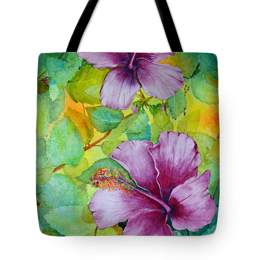 """Hibiscus In Violet Tote Bag by Terri Robertson (18"""" x 18"""").  The tote bag is machine washable, available in three different sizes, and includes a black strap for easy carrying on your shoulder.  All totes are available for worldwide shipping and include a money-back guarantee."""
