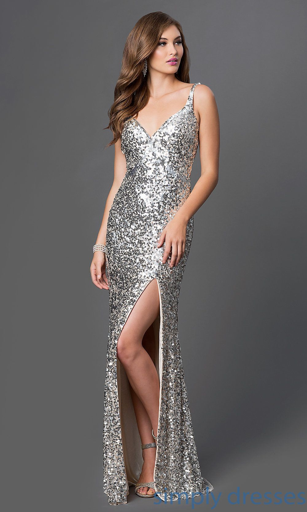 V-Neck Long Sequined Gown   Long prom gowns, Formal gowns and Pageants