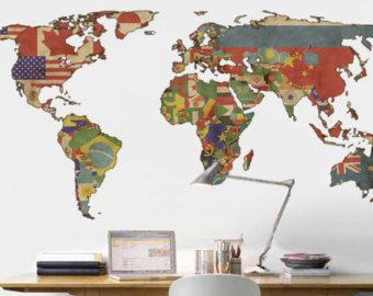 World map decal vintage flags map wall decal by decoratingwalls world map decal vintage flags map wall decal by decoratingwalls gumiabroncs Choice Image