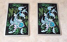 Vtg 2 Single Swap Ornate Dancing Blue Koi Fish Playing Cards Singles not Decks