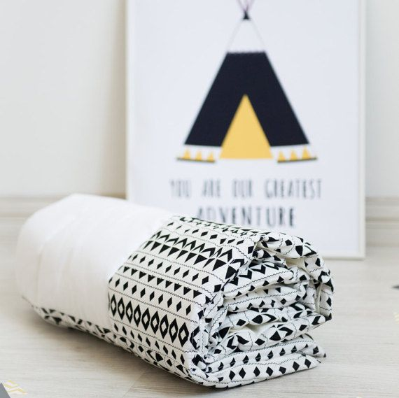 Monochrome Tribal Baby Play Mat Padded  40 x 40  by ITSFORKIDS