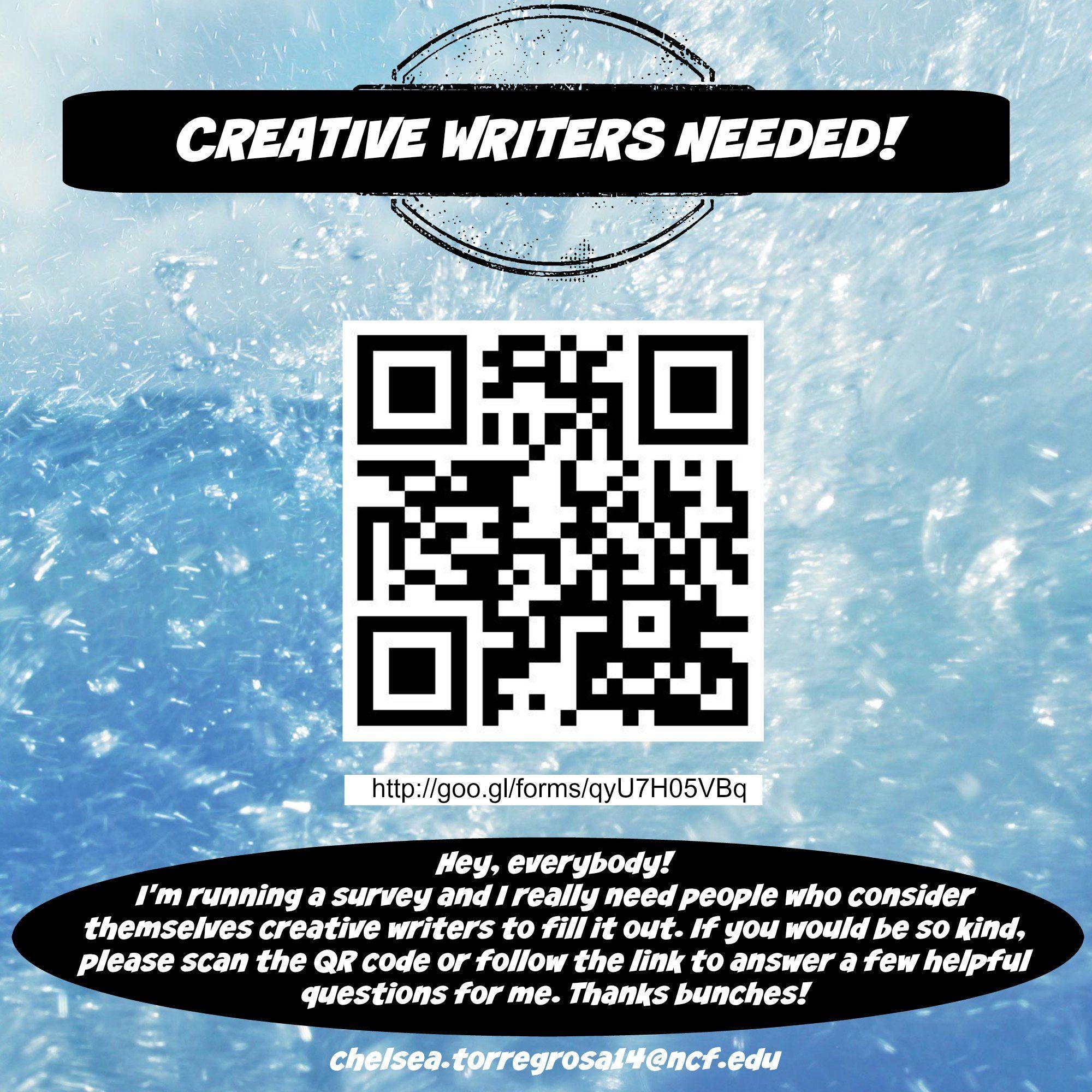 CREATIVE WRITERS NEEDED!!! http://goo.gl/forms/qyU7H05VBq