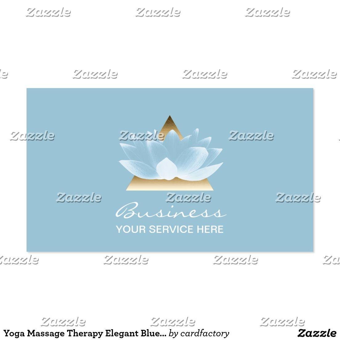 Yoga Massage Therapy Elegant Blue Lotus Flower Business Card | reiki ...