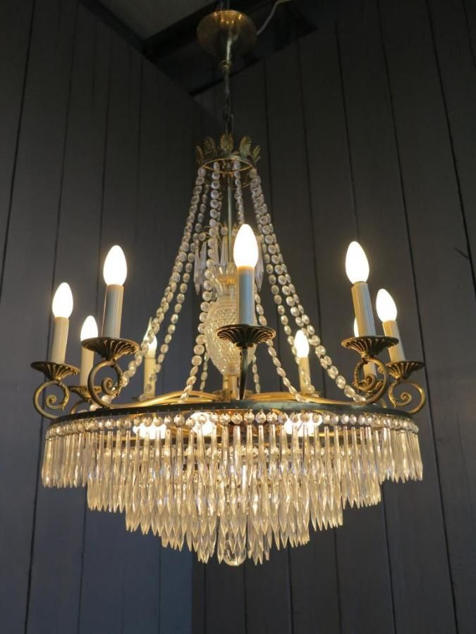 Large Brass Vintage Chandelier With 5 Circular Tiers For Sale On