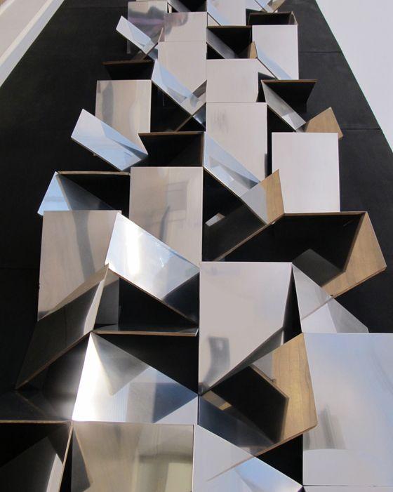Folded facade 3d art installation mirror mirrored for Mirror installation