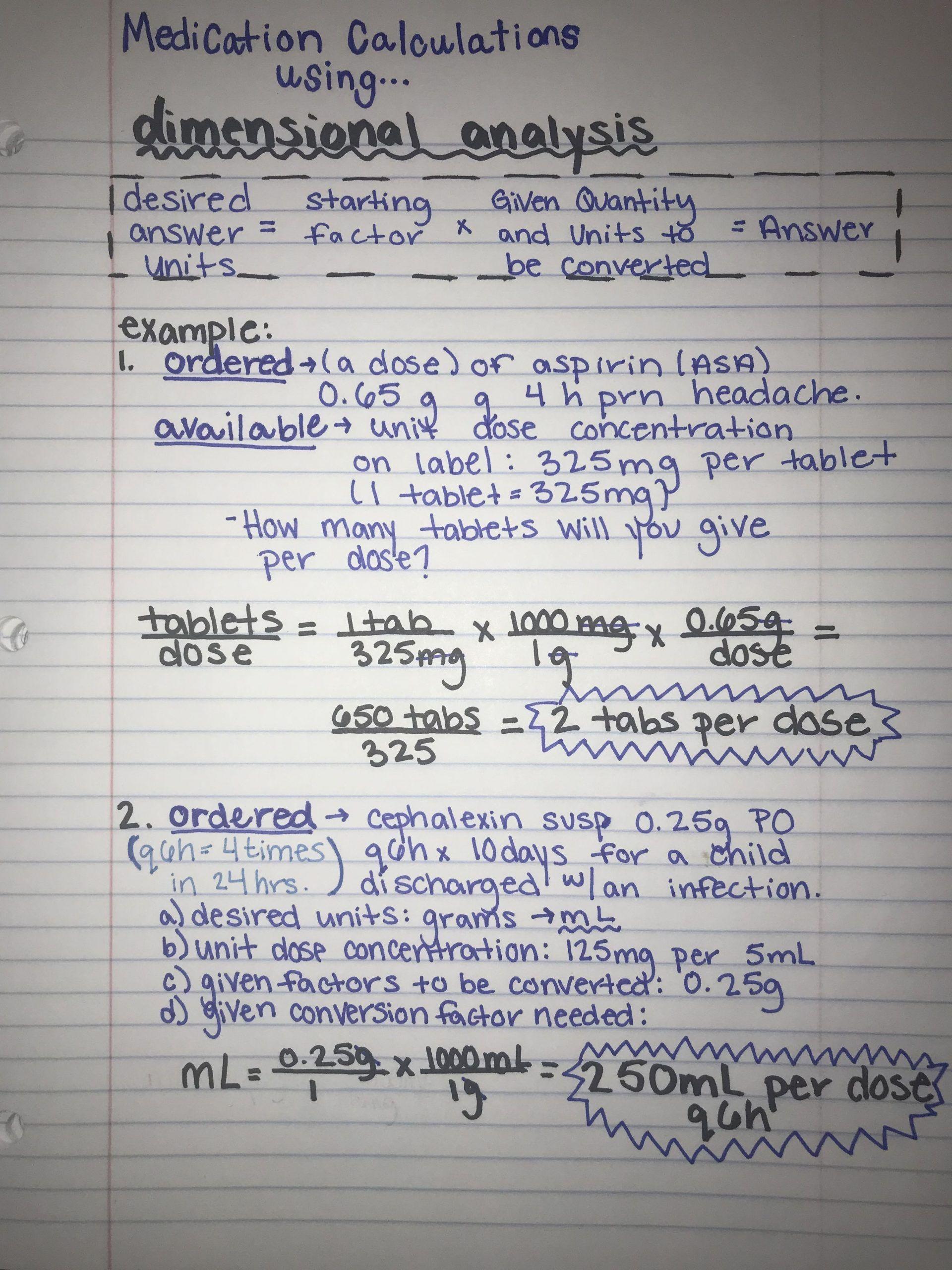 Dimensional Analysis Worksheet 2 Medication Calculations Using Dimensional Analysis With In 2020 Nursing School Notes Nursing Math Nursing Student Tips