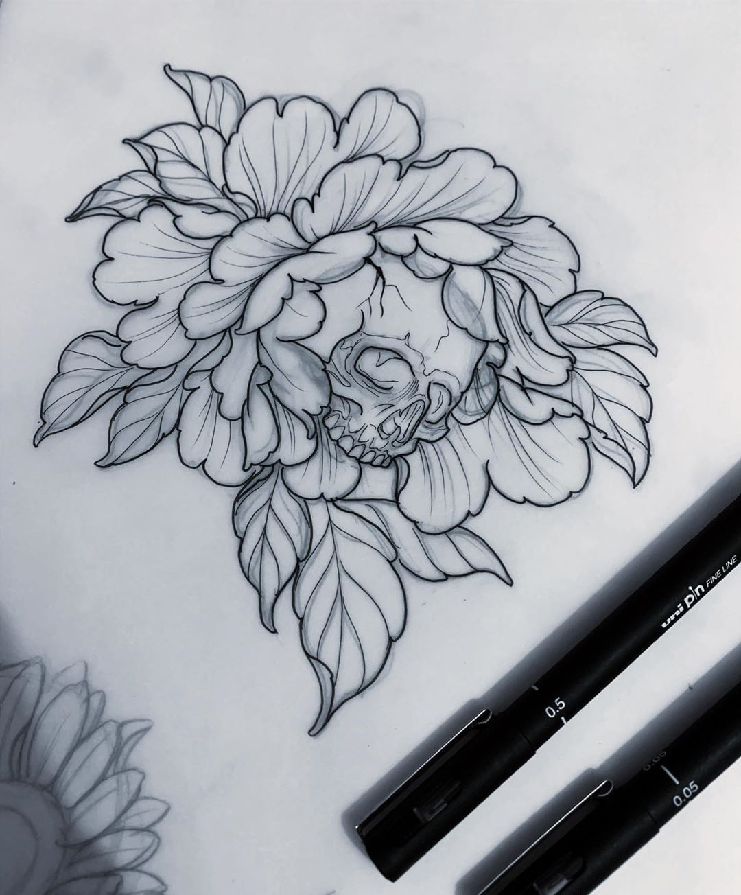 "Out of Step Books & Gallery on Instagram: ""Check out this fantastic #peony #skull #tattoo #design that @adear_tattoo recently created! Be sure to visit Aaron's page for lots of…"""