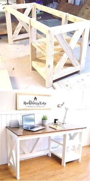 Exceptionnel Farmhouse X Desk Woodworking Plans For The Home Office #desk #office  #HomeFurniture