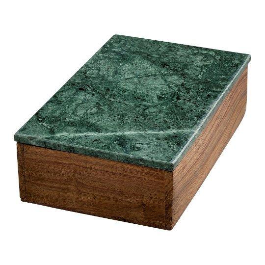 medium wooden box w green marble lid