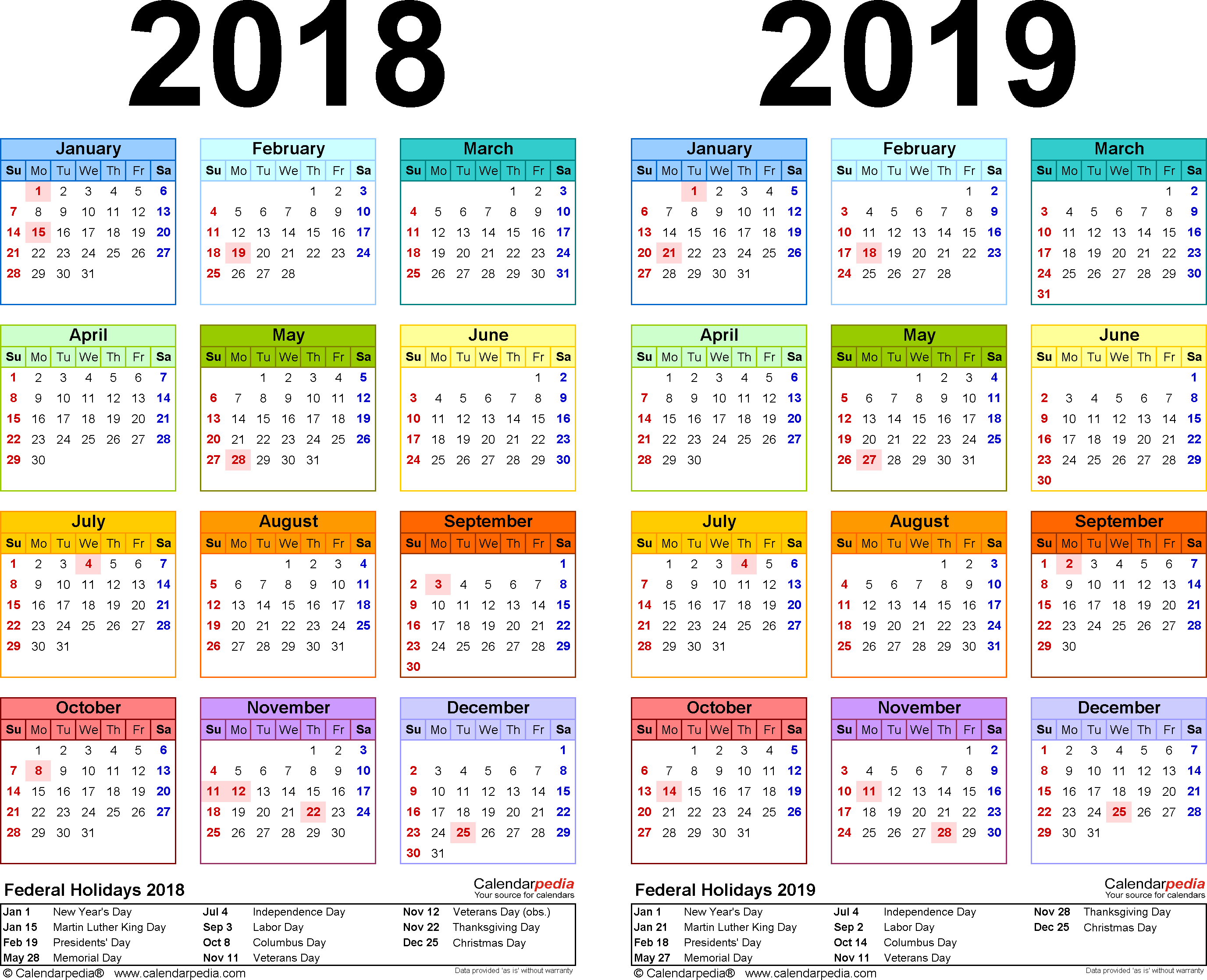 2019-2016 Calendar Printable Calendar 2018/ Calendar 2019 | Schedule calendar template | Yearly