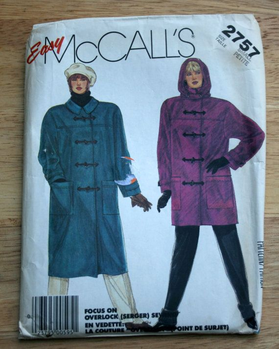 UNCUT vintage duffle coat sewing pattern Easy McCalls, size Small S ...