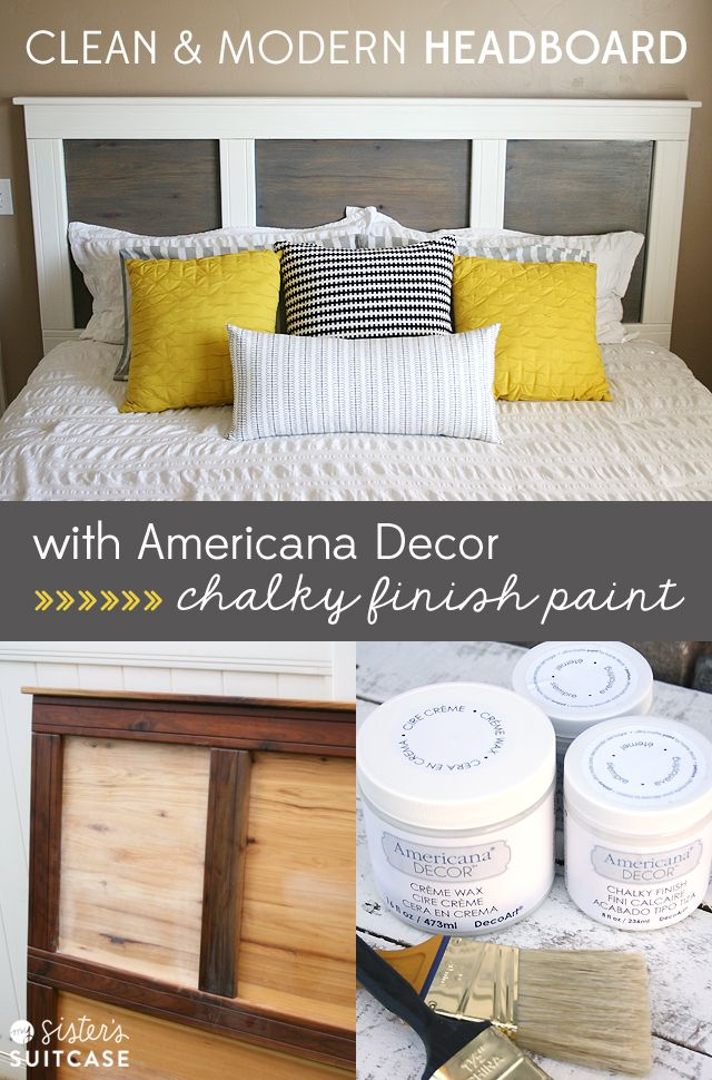Modern headboard makeover with chalky finish paint for Diy modern headboard