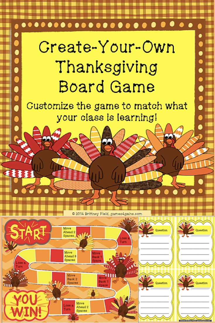 Need a template to create your own Thanksgiving-themed board game? This set has a fun game board and blank game cards ready to be customized. $