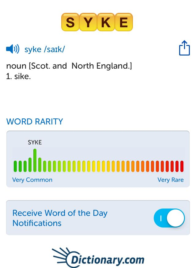 The best word I've seen today on Words with Friends is 'syke'. Can you come up with a better one?