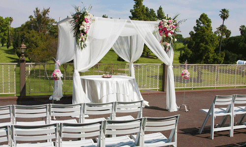 La Mirada Golf Course Ceremony site with flowers in pink and white ...