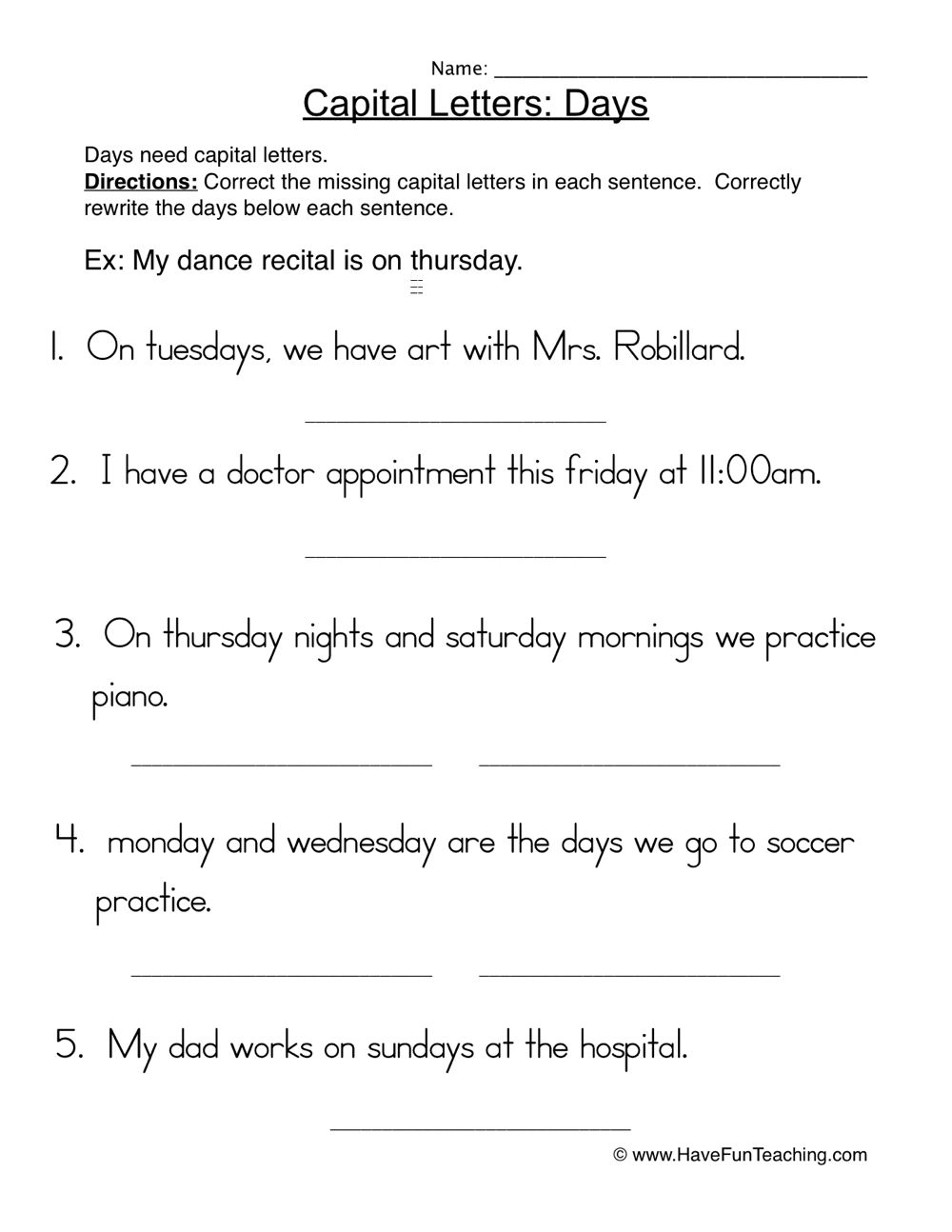 Worksheets • Have Fun Teaching   Capital letters worksheet [ 1294 x 1000 Pixel ]