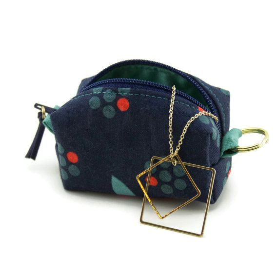 coin purse keychain  navy and green  change by CandiedCottons