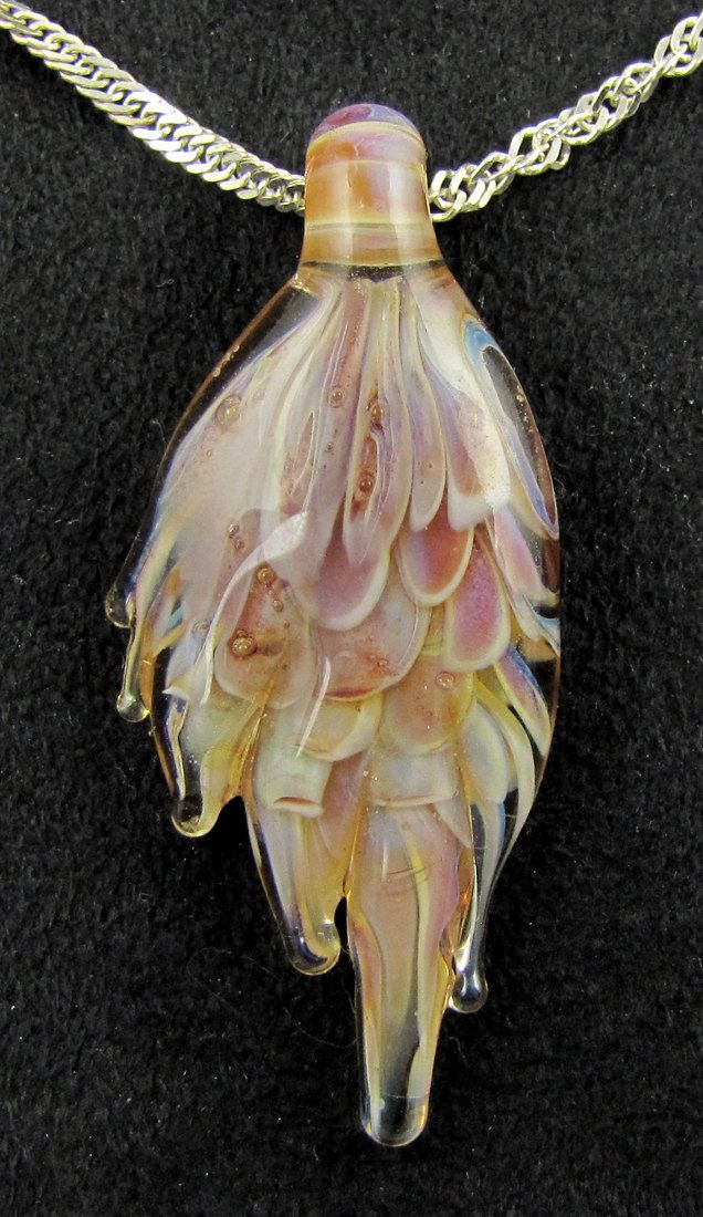 Glass pendant necklace designed handmade lampwork pastel colors