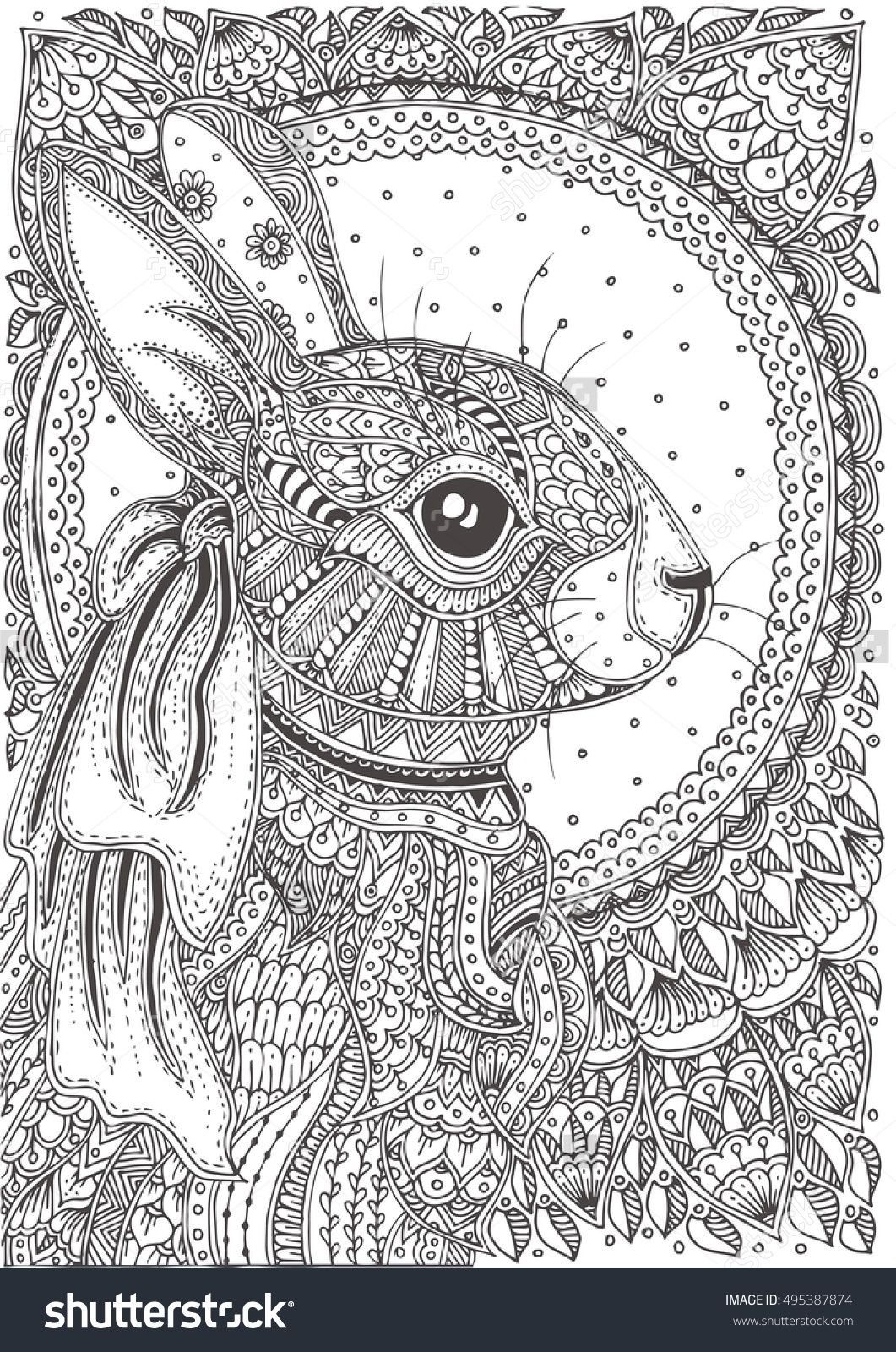 Rabbit hand-drawn with ethnic floral doodle pattern. Coloring page ...