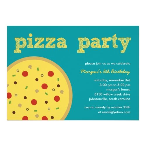 Pizza birthday party invitations pizza party invitation turquoise party invitations stopboris Choice Image