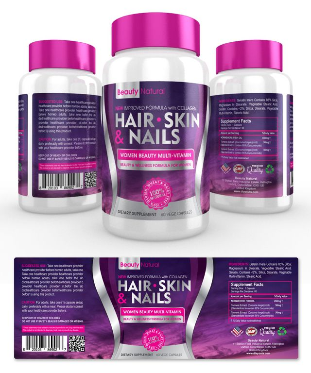Hair, Skin & Nails Supplement Label Template Http://Www.Dlayouts