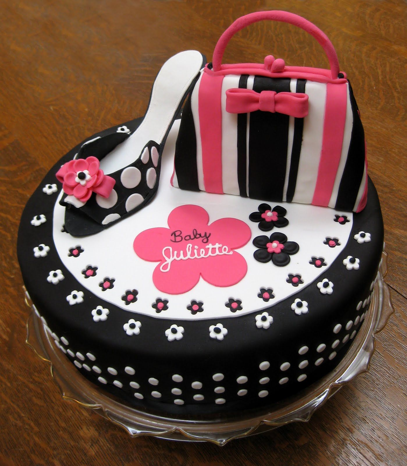 Amazing Cakes By Vanessa A Black and Hot Pink Cake with polka
