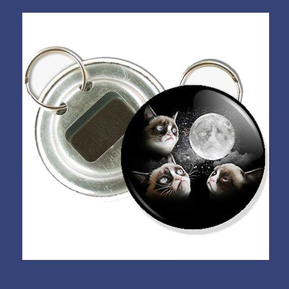 3 Grumpy Cat Moon Bottle Opener Keychain  225 by mittonsbuttons, $4.00