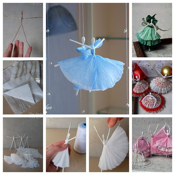 Wonderful diy creative paper ballerinas with napkin and for Creative craft ideas with paper