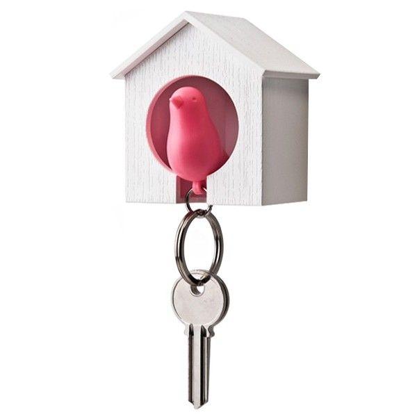 Maison Porte-clés Oiseau blanc et rose