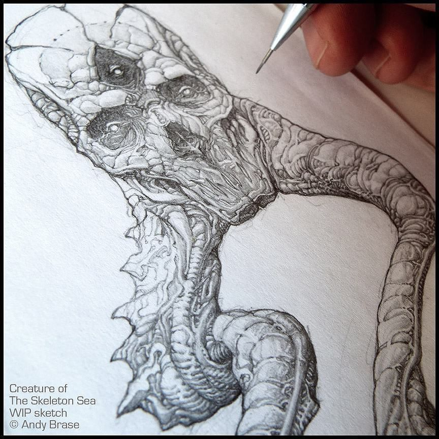 Creature of the Skeleton Sea:  Concept design doodle from my sketchbook  #andybrase #pencil #sketchbook #creaturedesign #characterart #monster #wip #dark #tentacles #originalart by andybrase_art