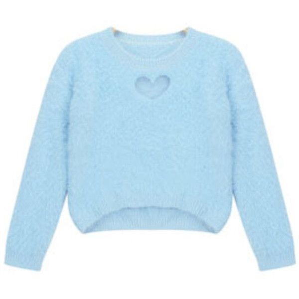 Chicnova Fashion Asymmetric Sweater in Fluffy Knit ($22) ❤ liked on Polyvore featuring tops, sweaters, blue crewneck sweater, knit crop top, crew-neck sweaters, knit sweater and blue cropped sweater