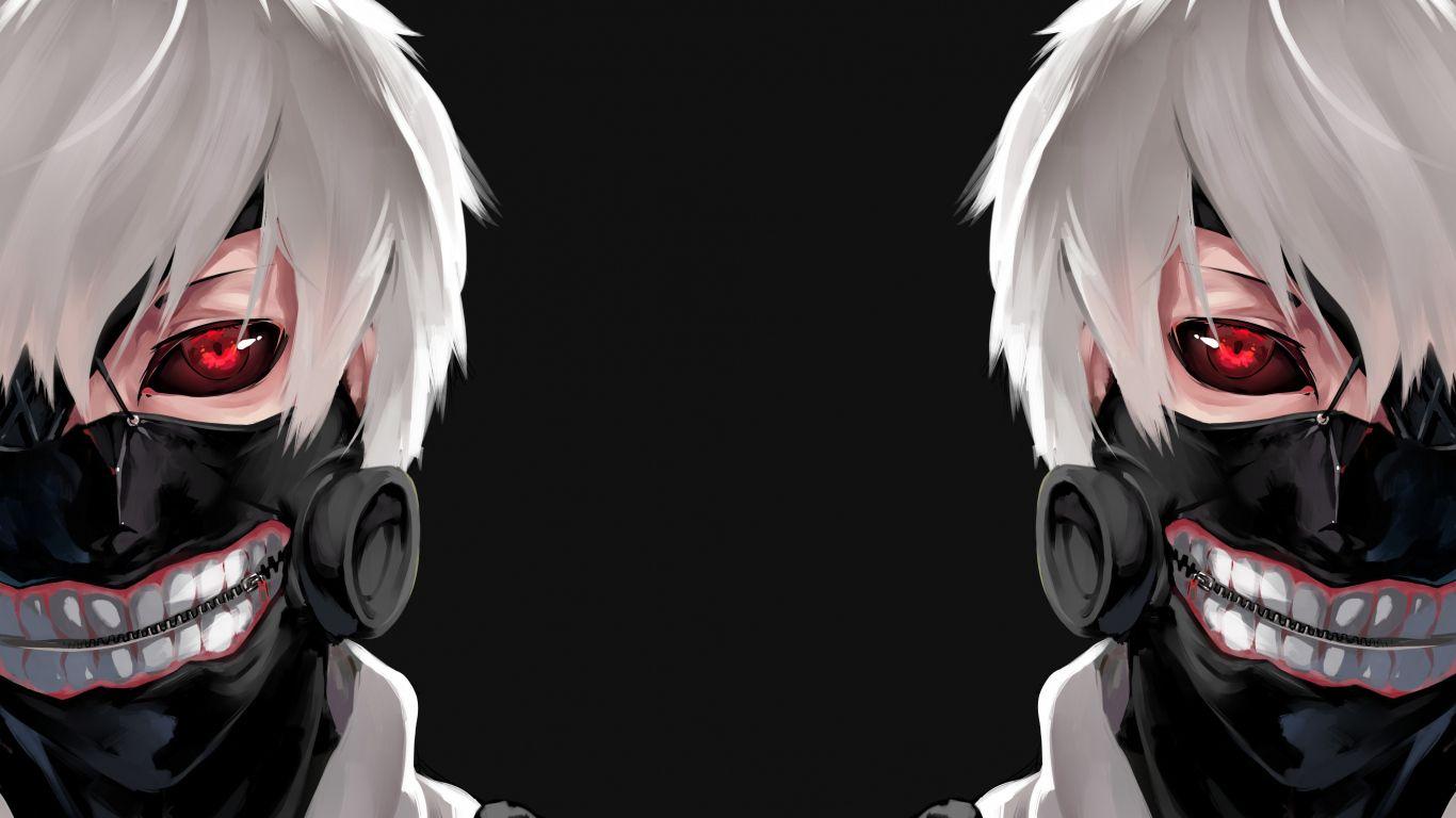 1366x768 Wallpaper Tokyo Ghoul Kaneki Ken Man Mask Face