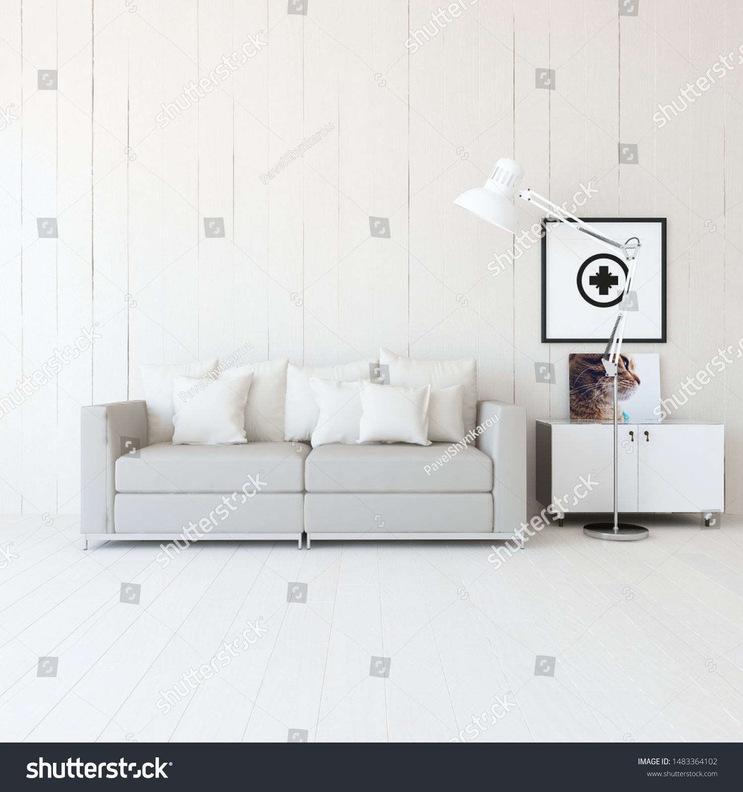 Idea Of A White Minimalist Living Room Interior With Sofa Dresser On The Wooden Floor And Decor On The Large In 2020 Minimalist Living Room Living Room Interior Room #white #minimalist #living #room