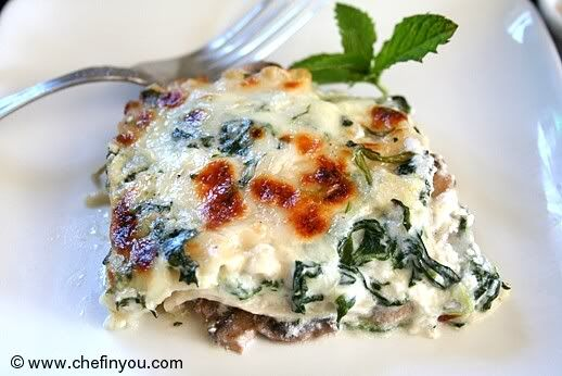 Spinach and Mushroom Lasagna With Ricotta Cheese Recipe   Chef In You