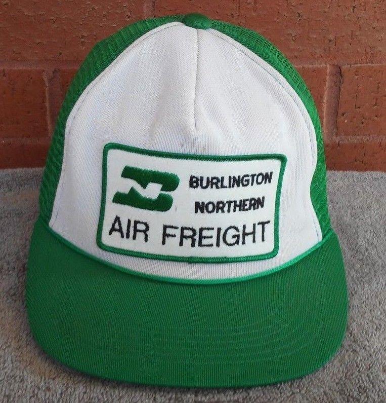 5653a4fdc12348 Burlington Northern Rail Road Snapback Hat Cap Foam Mesh Green White  usa   CapHat