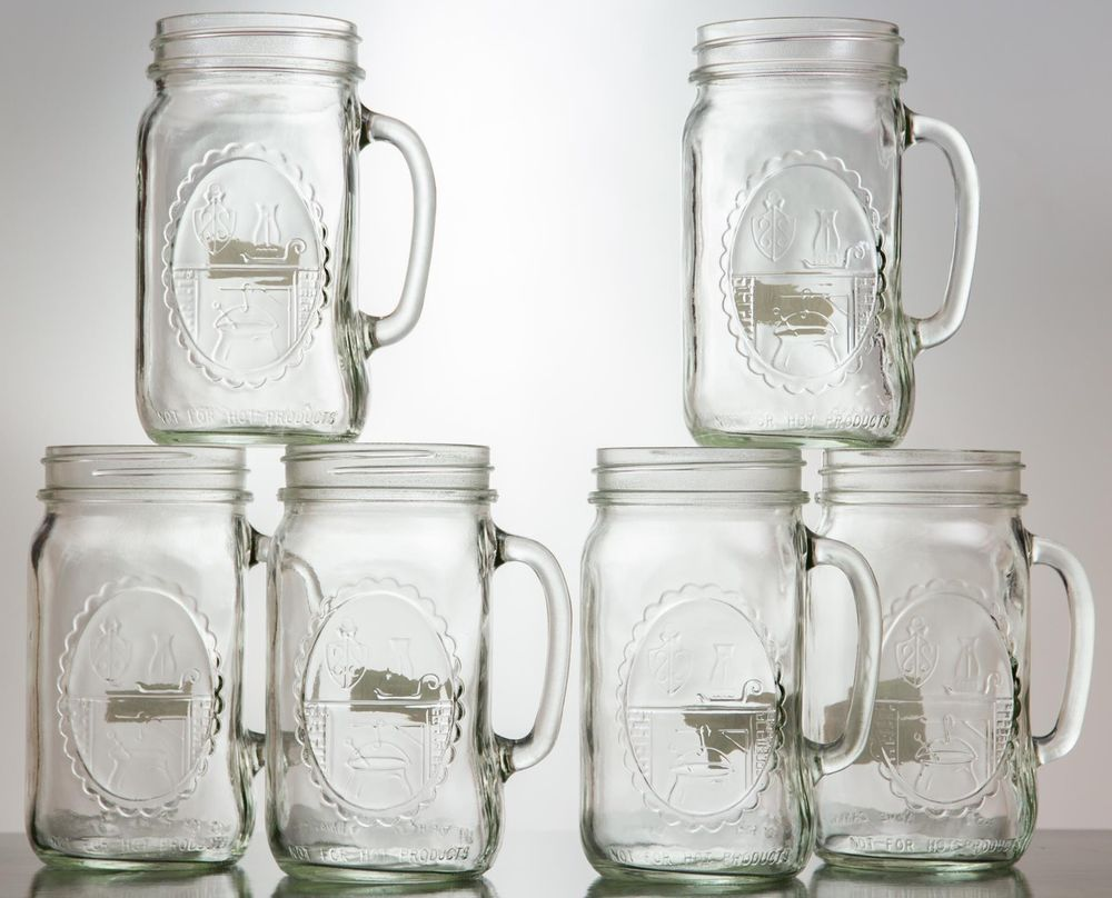 32 oz wide mouth mason jars - Vintage 32oz Wide Mouth Mason Drinking Jars Country Style Mugs Redneck Guzzlers Set Of 6