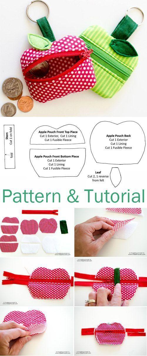 Money Zippered Apple Pouch - Haus #textilepatterns