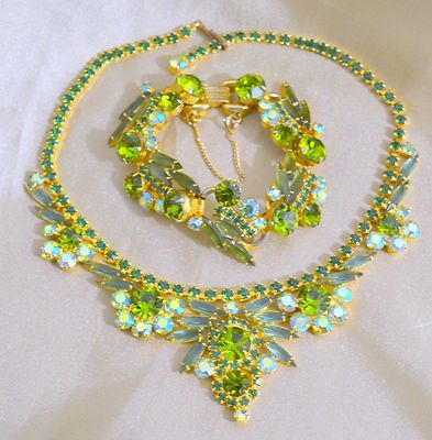 Vintage Juliana D E Green and A B Rhinestone  Necklace & Bracelet ($$$$$)