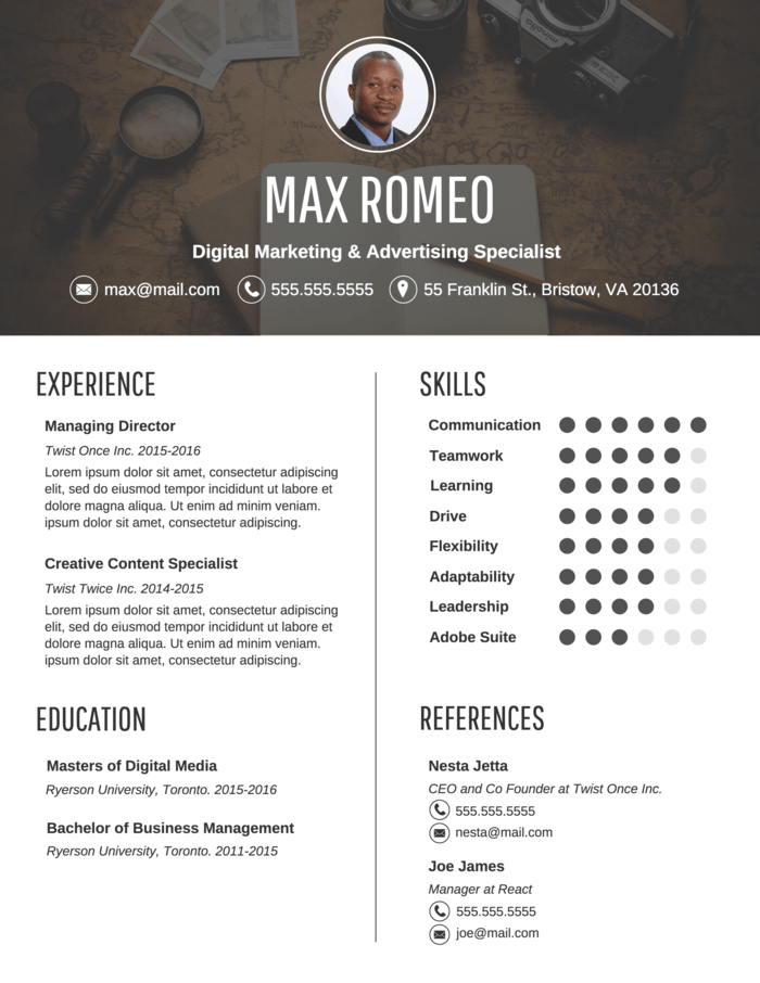 Contemporary Professional Resume Infographic Resume Infographic Resume Template Resume Design