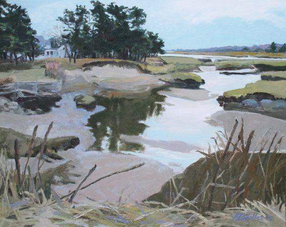 Studio Event Winter Marsh Biddeford Pool Maine By Mymainepaintings Landscape Art Maine Art Painting