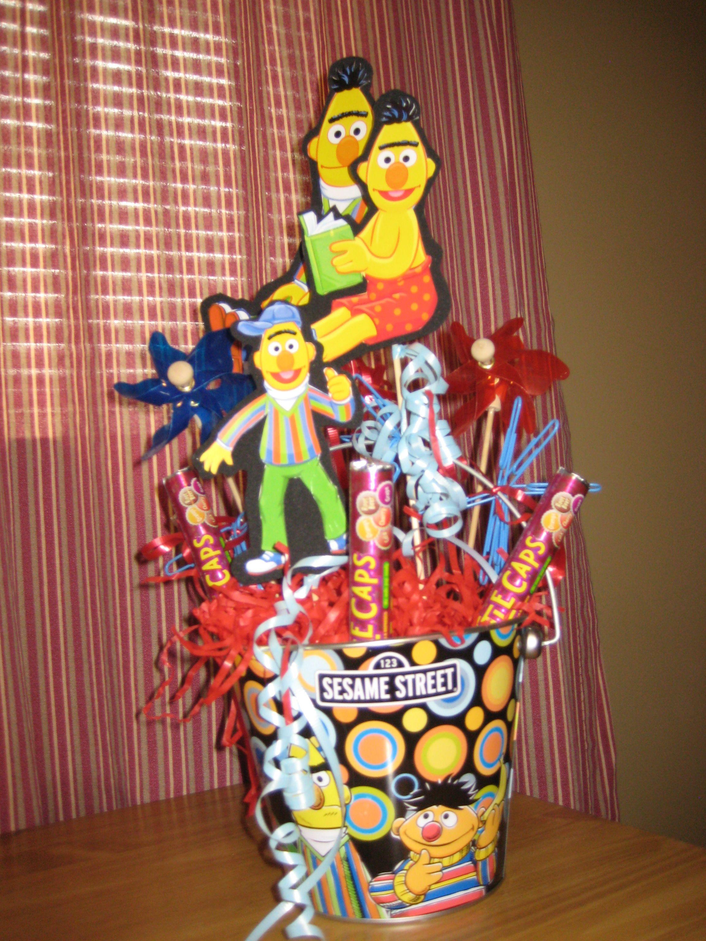 sesame street centerpieces bert with pin wheels paper clips and rh pinterest com