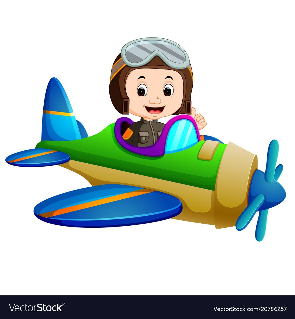 Professional Pilot Riding Flying Plane Vector Image On
